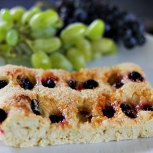 Sweet focaccia with grapes